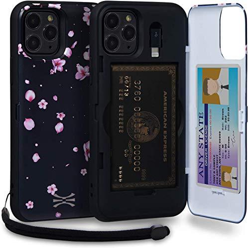 TORU CX Pro Funda iPhone 11 Pro Carcasa Cartera Diseño Floral con Tarjetero Oculto, Adaptador Lightning, Correa para la muñeca y Espejo para Apple iPhone 11 Pro (2019) - Flores de Sakura