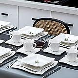 MALACASA, Serie Amparo, 60 TLG. Cremeweiß Porzellan Geschirrset Tafelservice mit Kaffeeservice, Dessertteller, Suppenteller und Flachteller für 12 Personen - 2