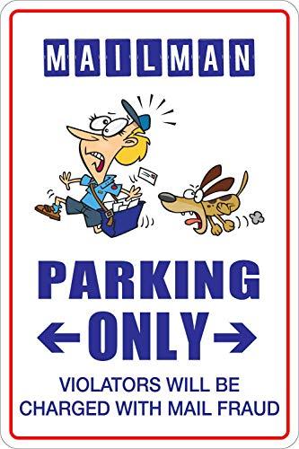 HONGXIN Mailman Parking Only - Cartel de metal vintage para decoración de hogar, bar, bar, garaje, regalos, banda, cerveza, huevos, café, supermercado, granja, jardín, dormitorio