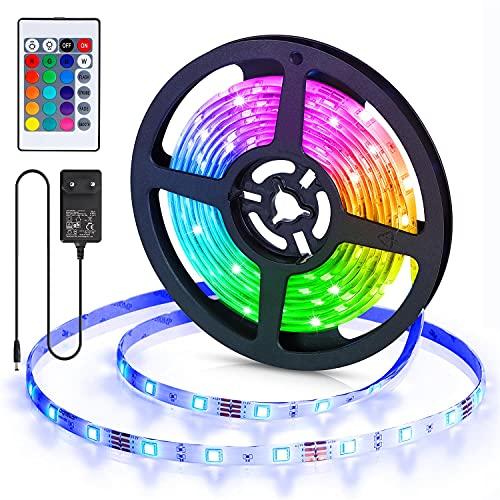 Aigostar Tiras LED 3M, RGB Tiras de Luces LED con Control Remoto, IP65 Impermeable, Tira LED Adhesivas 12V con 16 Colores y 4 Modos de Escena para Habitación, Dormitorio, Salón, Fiesta y Decoración