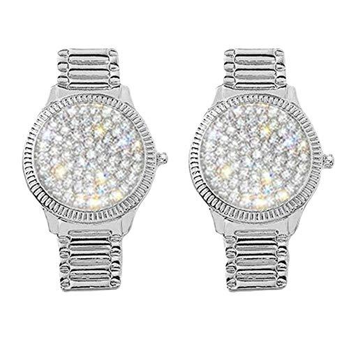Orecchini per le donne, strass a forma di orologio ovale geometrico ciondola orecchini a goccia gioielli - argento a forma di orologio