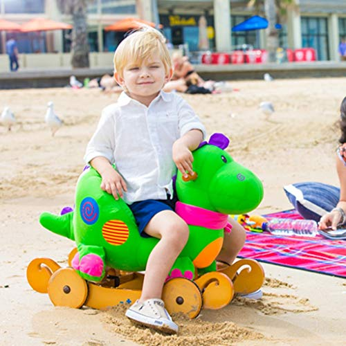 Check Out This FJH Rocking Horses Wooden Baby Rocking Horse, 2 in 1 Plush Rocking Horse with Wheels,...