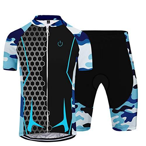 Traje Deportivo de Montar para Mujer Conjunto de Ciclismo Camiseta de Manga Corta Transpirable y de Secado rápido + Traje de pantalón Corto (A,4XL)