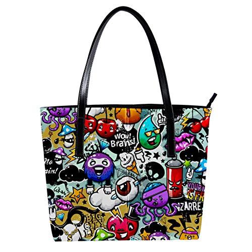 LORVIES Graffiti Texture-Elemente, Bizarische Figuren, Umhängetasche aus PU-Leder und Handtaschen für Damen