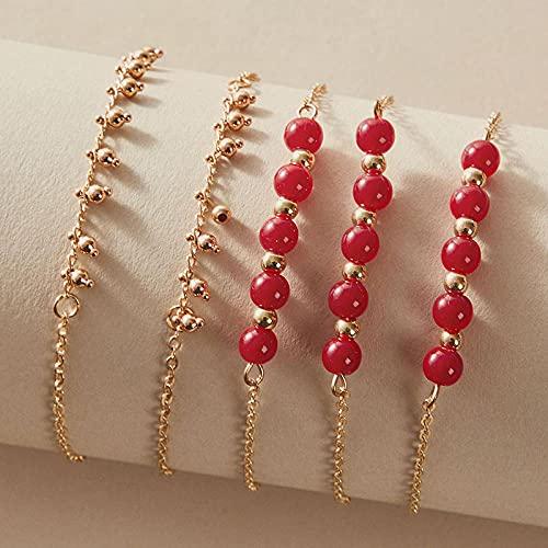 CHWEI Knitted Hat Pulseras para Mujer 5 Piezas Conjuntos De Pulseras De Cuentas Rojas para Mujer Encantador Color Dorado Aleación Brazalete De Cadena De Metal Accesorios De Joyería A