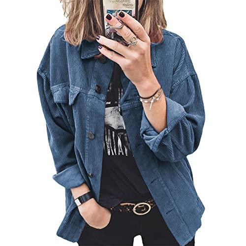 PRJN Camisas de Gran tamao con Botones para Mujer Blusa de Manga Larga Manga enrollada con puos Trabajo Informal Tops Lisos con Bolsillos Camisa de Pana con Botones Chaqueta de Gran tamao Blusa