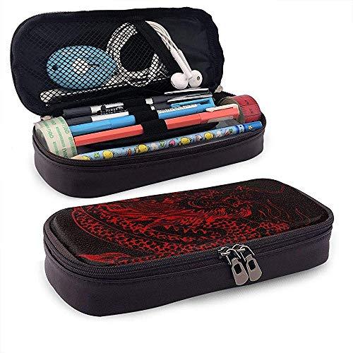 Étui à crayons en cuir rouge chinois dragon tatouage noir stylo pochette titulaire crayon cosmétique maquillage pochette sac