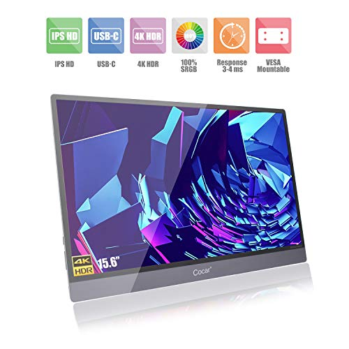 """Cocar 4K Portable Monitor, 3840x2160 UHD IPS 15.6"""" HDR Screen Display HDMI Type-C Full-featured USB-C Mirroring OTG Mouse Keyboard Gaming for Laptop Computer Samsung ChromeBook Surface Xbox PS4 Switch"""