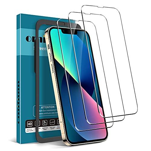 omitium 3 Pezzi Vetro Temperato Compatibile con iPhone 13 e iPhone 13 PRO 6,1 Pollici, 9H Durezza Pellicola Protettiva Cornice Allineamento Facile Senza Bolle Anti-graffio Protezione Schermo