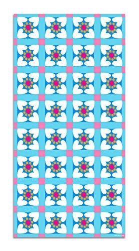Agatha Ruiz de la Prada Alfombra Vinílica Hidráulico Azul Baldosas Flores Bordes 60x250cm - Alfombra Cocina Vinilo - Alfombra Salón Antideslizante e Ignífuga - Alfombras Grandes - Alfombras PVC