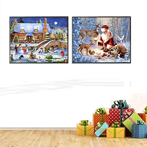 Peerless 5D Diamond Painting Christmas Santa Claus Diamond Painting for Adults and Beginner Diamond Arts Craft Home Decor (2 pack,12 x 16inch)