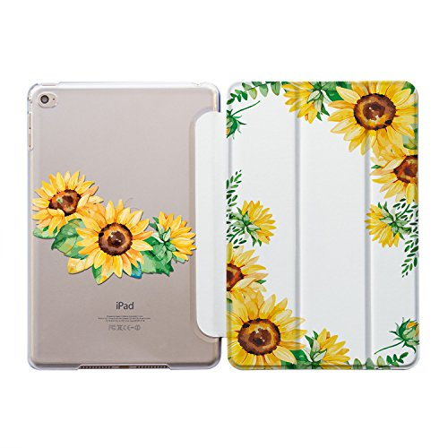 ZIZZDess Case with Magnetic Smart Cover for Apple iPad Plastic Protective Lightweight Art Design Skin Cover (iPad Mini 4, Art Sunflower)