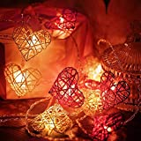 2 Piezas Luces LED de Cuerda de San Valentín Luces de Cadena de Corazón Rojo,...