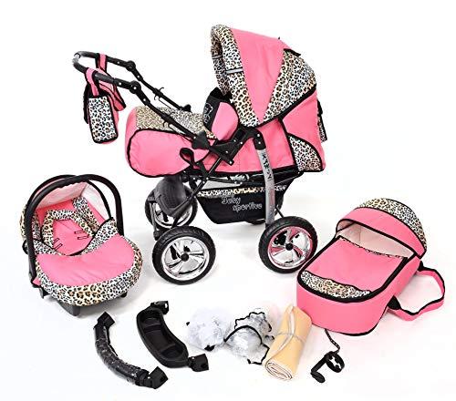 Kamil - Landau pour bébé + Siège Auto - Poussette - Système 3en1, incluant sac à langer et protection pluie et moustique - ROUES NON PIVOTABLES (Système 3en1, rose et Léopard)