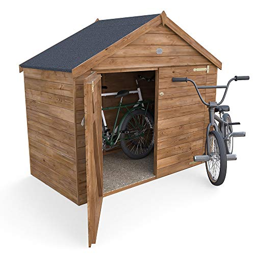 Dunster House 6.7x3.4FT Outdoor Bike Shed Fully Pressure Treated Garden Bicycle Storage With Pre-Fixed Roof Felt - Ariane