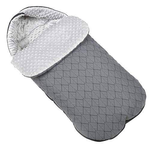 Chancelière universelle pour poussette d'hiver pour coque bébé sac de couchage footmuff Polar Minky motif à chevrons Grande taille 105 cm avec capuche [071]