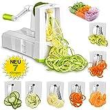 Espiralizador de Vegetales Cortador de Verduras de 7 Cuchillas, Zucchini Spaghetti Maker, Rebanador de Frutas y Verduras, Doblado en Espiral, Tallarines, Fideos