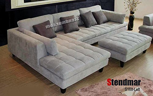 Stendmar 3pc Contemporary Grey Microfiber Fabric Sectional Sofa Chaise Ottoman S168LG