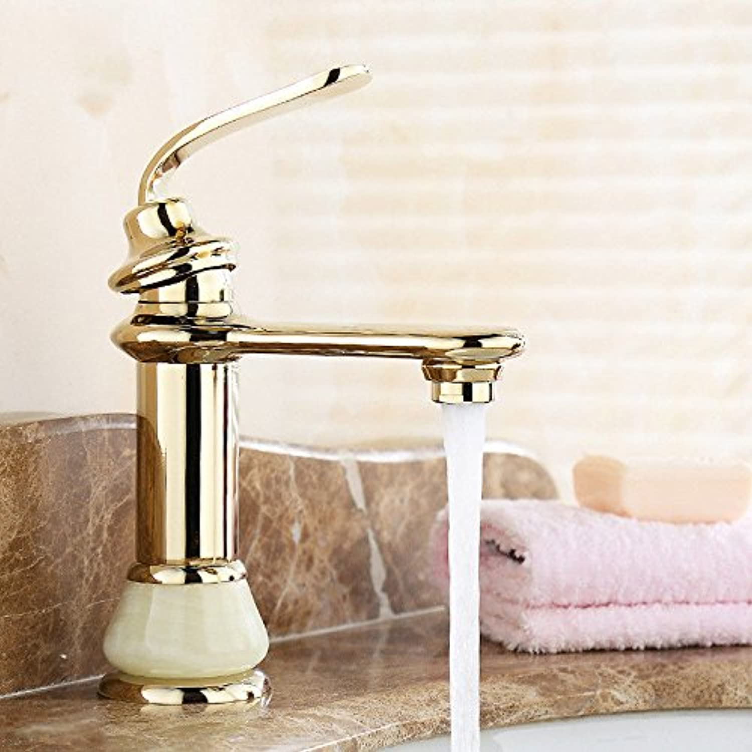 AQMMi Bathroom Vanity Sink Faucet Brass gold Plating Single Lever 1 Hole Single Lever Bathroom Basin Sink Tap Bathroom Faucet