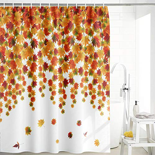 Maccyafst Autumn Fall Leaves Shower Curtain Fabric Watercolor Maple Leaf Bathroom Curtains Thanksgiving Harvest Plants Bath Shower Curtain with Hooks