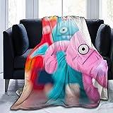 JONINOT Anime Unicornio Divertido Lindo línea Manta de Microfibra Colcha Manta Cubierta de Cama 80 'x 60'