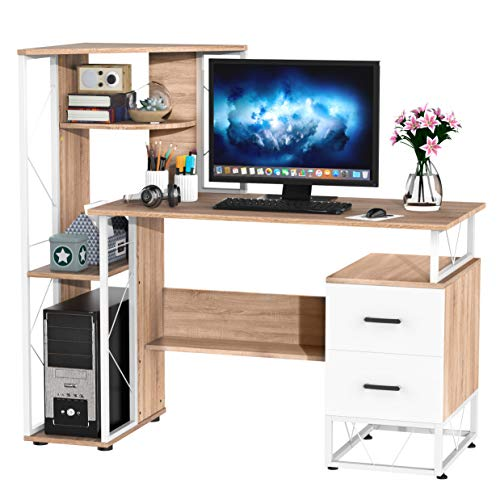 HOMCOM 52' Modern Multi-Level Computer Desk Home Office Study Workstation with Storage Shelves, Drawers and CPU Stand, White/Oak Color