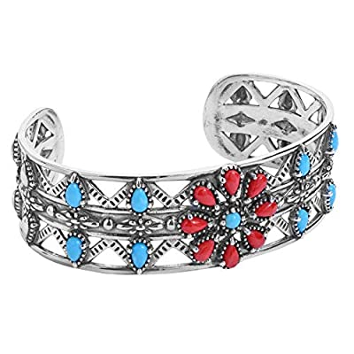 American West Sterling Silver Blue Turquoise and Red Coral Gemstone Flower Cuff Bracelet Size Small