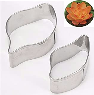 Water Lily Flower Cake Mould Cookie Cutter Biscuit Fondant Modeling Shape Stainless Steel Decorating Baking Tool 2pcs