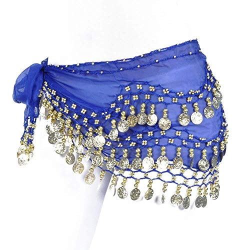 REINDEAR Vogue Style Chiffon Dangling Gold Coins Belly Dance Hip Scarf US Seller (Royal Blue)
