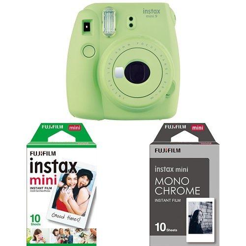 Fujifilm - Instax Mini 9 - vert citron - appareil seul + 1x10 Films + 1x10 films monochrome