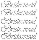 Bridesmaid 5Pack Wedding Clear Rhinestone Iron On Hotfix Each 8.5x1.5' Transfer Bling Crystal DIY- Lot of 5!!!