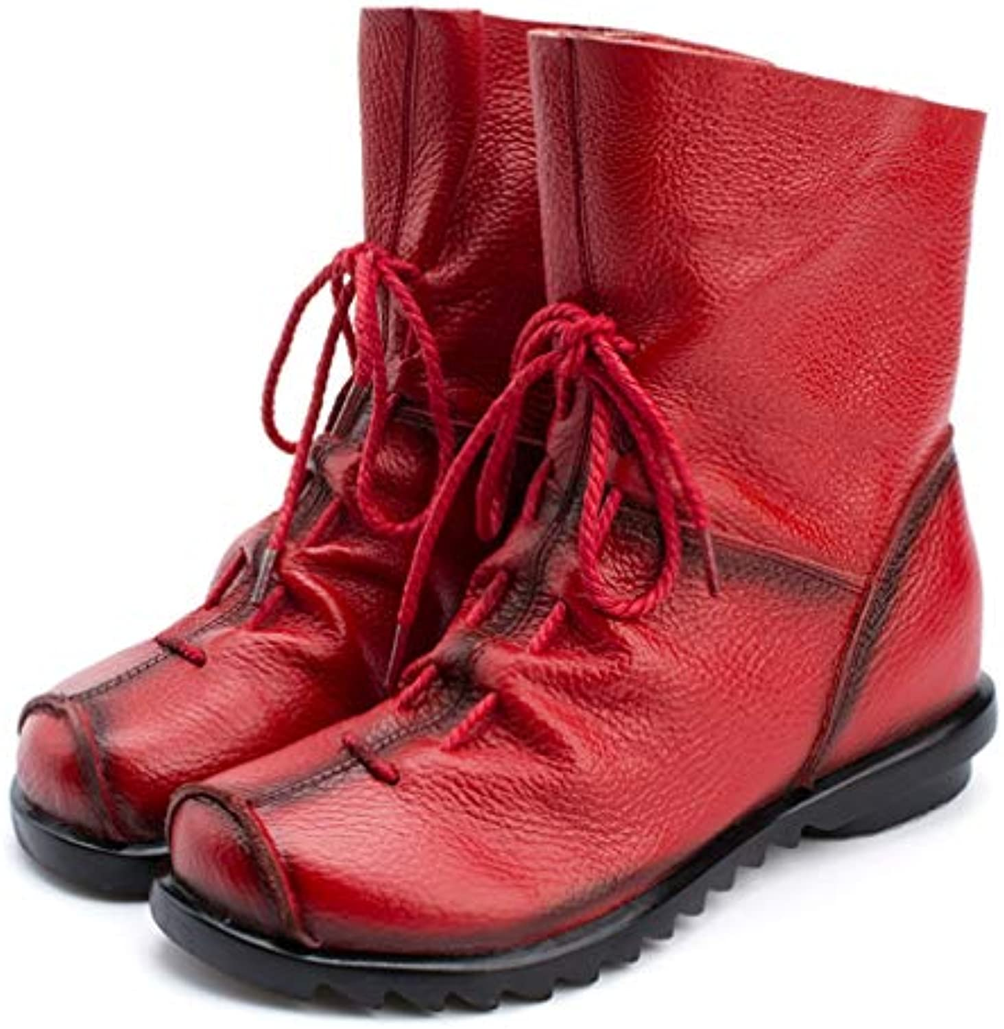 T-JULY Women Winter Ankle Boots Round Toe Lace-up Zipper Closure Autumn Ladies shoes Fashion Pui Leather Boots