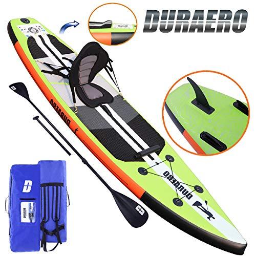Tabla Hinchable Paddle Surf Sup Paddel Surf Bomba, Asiento de Kayak, Almohadilla integrada, Aleta Desprendible, Doble remo ajustable, Kit de Reparación, 330 x 76 x 15 cm, Hasta 130 kg
