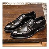 RZL Fermasoldi Griglia in rilievo classico Dress Oxford di Uomini, Lace up del cuoio genuino dei pattini Stitch brunito stile, suola in gomma Scarpe a punta Patchwork Shoes