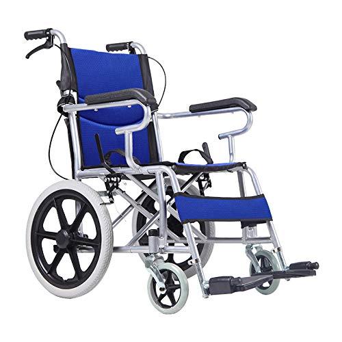 YH-LY Faltrollstuhl Reiserollstuhl, ultraleichter Faltbarer Rollstuhl Leichter Klapprahmen, Rollstuhl für Flugbegleiter, tragbarer Transportreisestuhl, abnehmbares Fußpedal, Standard.