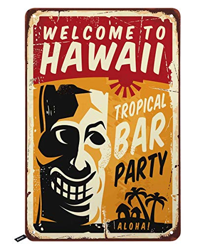 Swono Welcome to Hawaii Tin Signs,Funny Tiki with Letter Tropical Bar Party Vintage Metal Tin Sign for Men Women,Wall Decor for Bars,Restaurants,Cafes Pubs,12x8 Inch