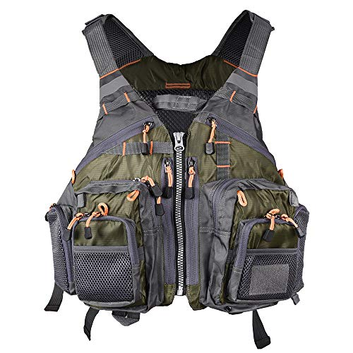 LOOGU Fly Fishing Life Jacket with Multi-Pockets Adjustable Vest for Men and Women Include 3 Foam Pads, Suitable for Fishing and Outdoor Activities