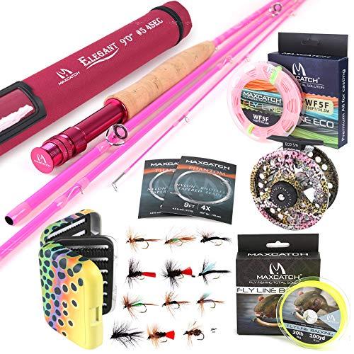 MAXIMUMCATCH Elegant Pink Fliegenrute für Damen, 2/5 wt, 6'6''/9ft, 4 Teile Fliegenfischen Rute (Elegant 9' 5wt 4 Teile Rute und Rolle Combo)