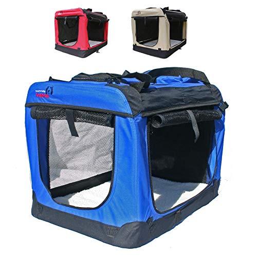 Hundetransportbox faltbar Transportbox für Hunde Hundebox Auto - Dogi Kennel - 6 Größen - 3 Farben (M (60 x 42 x 42 cm), Blau)
