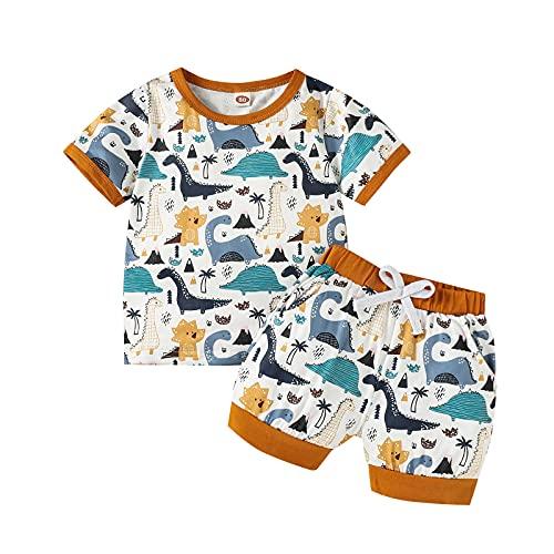 Juego de ropa de verano para niño pequeño, 2 piezas, camiseta de manga corta con estampado de dinosaurios + pantalones cortos de cintura elástica
