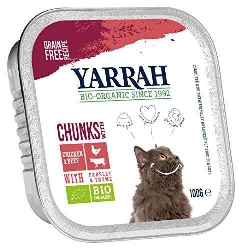 Yarrah Bröckchen Lot de 16 boîtes de Nourriture Bio pour Chat 100 g