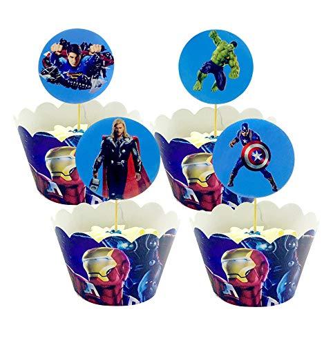 Yisscen Superheld Cupcake Verpackung Topper 48 Stücke Muffins Dessert Dekoration, Tortendekoration mit Superhelden-Motiven für Jungen und Kinder Geburtstagsfeiern