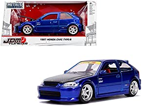 New DIECAST Toys CAR JADA 1:24 W/B - Metals - JDM Tuners - 1997 Honda Civic EK Type-R (Blue) 30929