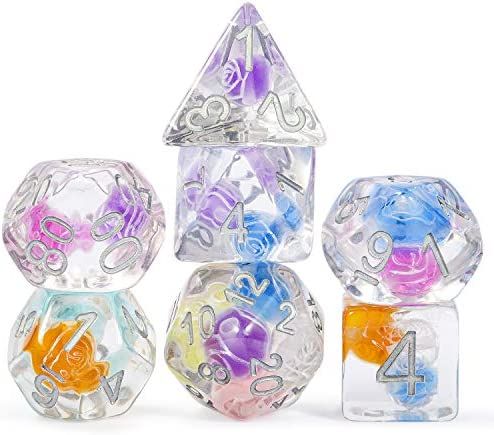 DNDND Beads Dice Set D D 7 Die Resin Polyhedral Gaming Dice with Organza Pouch for Dungeons product image