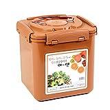 E-Jen Premium Kimchi, Sauerkraut Container Probiotic Fermentation with Inner Vacuum Lid (Earthenware Brown, 1.6 gal/ 6.4L)