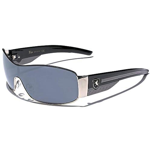 9cb8a6a76f Khan Metal Wire Rim Frame Men s Sport Shield Sunglasses