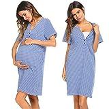 Unibelle Damen Umstandskleid Umstandsmoden Schwangerschaftskleider Maternity Kleid Brautkleid Jerseykleid Sommer Kleid, Blau_2, XL