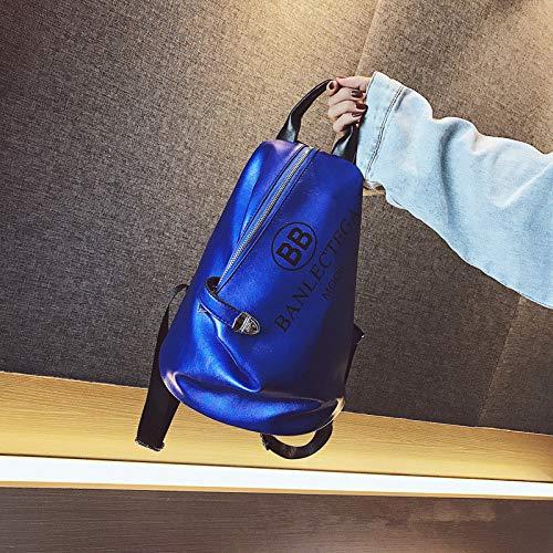 Hanggg Wilder zachte PU studentenrugzak van de vrouwelijke weg van de rugzak met grote capaciteit Blau