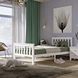 Panana Single Bed Solid Wood Bed Frame 3ft White Wooden For bedroom, guest room, dorm or hotel
