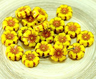 6pcs Rustic Picasso Bronze Light Yellow Satin Czech Glass Flat Carved Table Cut Hawaiian Flower Beads Coin 12mm